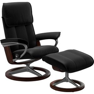 Stressless® Relaxsessel Admiral (Set, Relaxsessel mit Hocker), mit Hocker, mit Signature Base, Größe M & L, Gestell Braun schwarz 93 cm x 113 cm x 79 cm