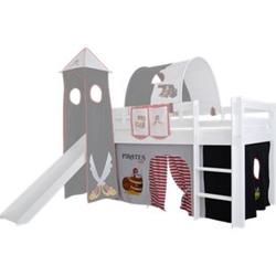3tlg. Vorhang Set Höhle Pirat für Hochbett Spielbett Vorhänge Kinderbett schwarz