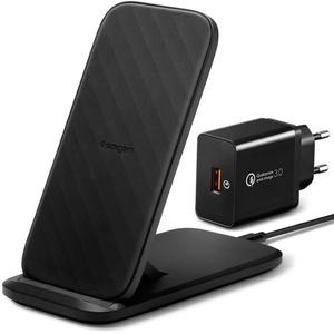 Spigen SteadiBoost Wireless Charger 15W Ladegerät mit QC 3.0 Netzteil Qi Ladestation Kompatibel mit iPhone 13 12 Mini SE 2020 11 Pro X XR XS Max 8 Plus Galaxy S21 S20 S10 S9 S8 Note 20 10 9 8 usw