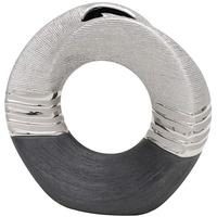 Dekohelden24 Edle Moderne Deko Designer Keramik Vase rund geschwungen mit Loch in Silber-grau, 19 cm