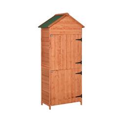 Armoire abri de jardin remise pour outils 3 étagères 2 portes loquets toit pente bitumé 84L x 51l x