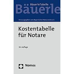 Kostentabelle für Notare - Buch