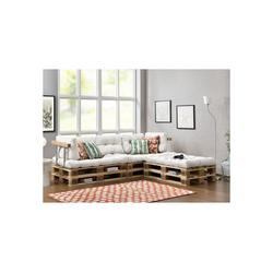 en.casa Palettenkissen, Tasartico Palettensofa 3-Sitzer Palettenmöbel inkl. Kissen Lehnen und 6 Paletten weiß weiß