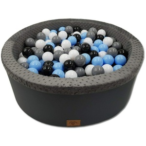 Odolplusz Bällebad 90x30 cm ∅ 7Cm | Bällepool für Baby mit 200 bunten Bällen Rund, viele Farben zur Auswahl (Graphit - Junge)