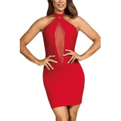 Rotes Neckholder-Kleid mit Tüll