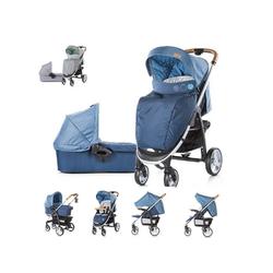 Chipolino Kombi-Kinderwagen Kinderwagen Avenue 2 in 1, Ein-Hand-Faltsystem, Babywanne, Sportaufsatz blau