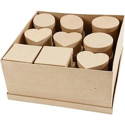 Pappmaché-Schachteln, D: 10-12 cm, H 5 cm, 28 Stück