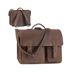 Ruitertassen Aktentasche Classic Satchel, 40 cm Lehrertasche mit 2 Fächern, auch als Rucksack zu tragen, dickes rustikales Leder braun