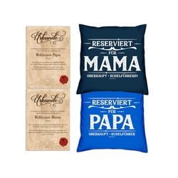 Soreso® Dekokissen Kissen-Set Reserviert für Papa Reserviert für Mama mit Urkunden, Geschenk Vatertag Muttertag blau