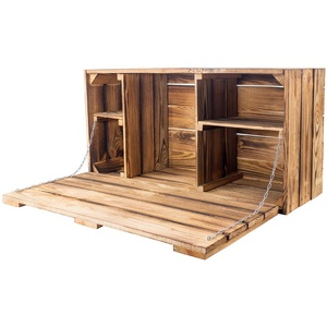 Obstkisten-online 1x HÄNGEREGAL Holz GEFLAMMT mit Klapptür und Regalböden - NEU - 81x41x31 cm - schöne Hängebar, Wandschreibtisch, Dekoregal