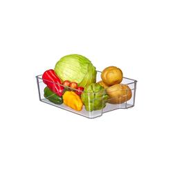 relaxdays Aufbewahrungsbox Kühlschrank Organizer mit Griffen, Kunststoff