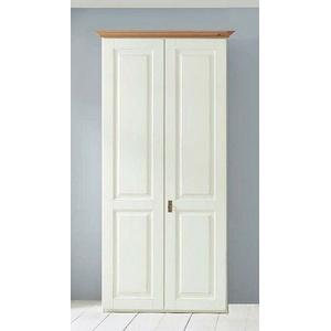 Massivholz Kleiderschrank 2türig Kiefer Creme Eiche Garderoben-schrank Dielen
