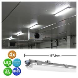 etc-shop Außen-Deckenleuchte, 4er Set LED Wannen Röhren Leuchten Feucht-Raum Lager Hallen Decken Lampen grau