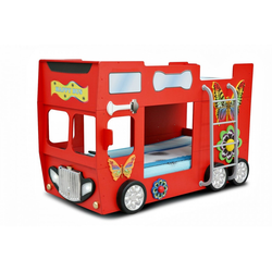 Trebela Kinderbett Trebela Happy Bus inkl. Matratze und Lattenrost mit Leiter, 2x Holzlattenrost, 2x Matratzen blau