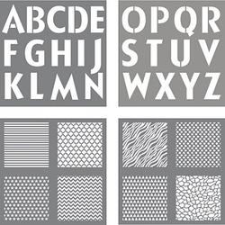 Rayher Dekor-Schablonen Buchstaben und Designs grau
