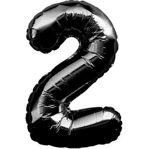 1x Folien Luftballon mit Zahl 2 Kinder Geburtstag Jubiläum Party Deko Ballon schwarz