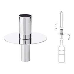 EDZARD Flaschenkerzenhalter Silber, Kerzenhalter aus Edelstahl mit Silber-Optik, Flaschen-Aufsatz für Stabkerzen, Höhe 8 cm