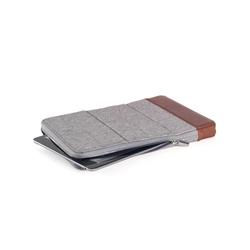 KMP Sleeve - Echtleder - Tasche für Tablet/iPad (max 11 Zoll) - grau braun - aus Textil & Echtleder