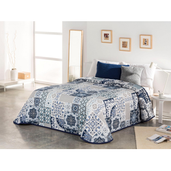 Tagesdecke Sofia, Vialman Home, mit Ornamenten im Patchworkdesign blau 280 cm x 250 cm