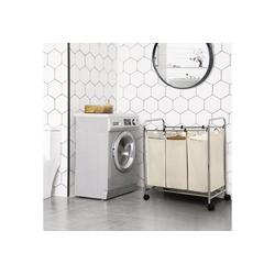 SONGMICS Wäschekorb LSF003B LSF003S, Wäschebehälter auf Rollen Beige natur