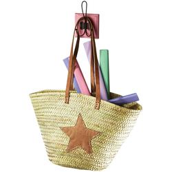 locker Aufbewahrungsbox, aus Palmblatt mit Echt-Lederhenkeln und Sterndeko Leder bunt Kleideraufbewahrung Aufbewahrung Ordnung Wohnaccessoires Aufbewahrungsbox