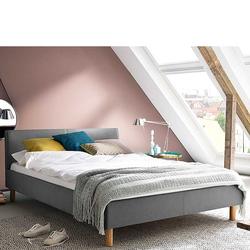 Niedriges Bett in Hellgrau Webstoff Skandi Design