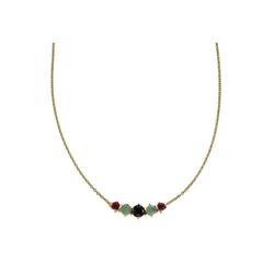 Zeeme Collier 925 Sterling Silber vergoldet, Rubin Safir Smaragd