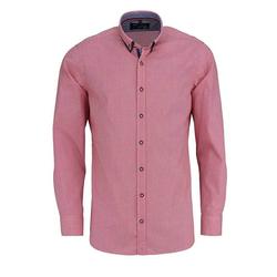 MARVELIS Trachtenhemd Freizeithemd - Trachten - Karo - Doppelkragen rot XXL