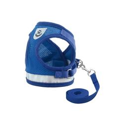 TOPMELON Hunde-Geschirr, Nylon, Hundegeschirr & Leinen Set, Atmungsaktive blau XL