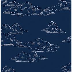 Vliestapete Vintage Cloud Navy, 10 m x 53 cm dunkelblau
