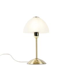 Art Deco Tischlampe Gold mit Opalglas - Boho