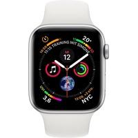 Apple Watch Series 4 (GPS) 44mm Aluminiumgehäuse silber mit Sportarmband weiß