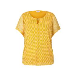 TOM TAILOR Damen Gemustertes T-Shirt mit Mesh-Overlayer, gelb, gemustert, Gr.XXL
