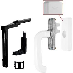 SCHÜCO Fenstergriff Getriebe- Handhebel + Eckumlenkung mit Schließrolle und Kappe als Komplett- Set I Profilsystem Schnicks Handhebel