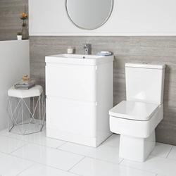 Set - 600mm Waschtisch mit Unterschrank & WC mit aufgesetztem Spülkasten modern weiß - Daxon