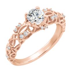 Vintage goldener Verlobungsring mit Diamanten und Moissanit Leana