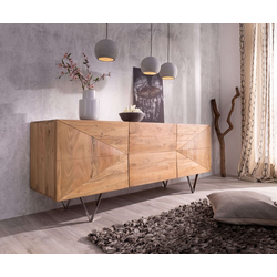 DELIFE Sideboard Wyatt, Akazie Natur 175 cm 3D Optik mittig Edelstahl Design Sideboard natur 175 cm x 71 cm x 45 cm