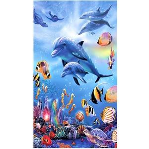 Große Strandtücher Badetuch Schnell Trocknend Wasseraufnahme Extra Microfiber L XL XXL, 3D Delfin Fisch Motiv Handtuch Blau Kinder Mädchen Junge Erwachsene Kuscheldecke (70x150cm)