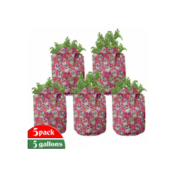 Abakuhaus Pflanzkübel hochleistungsfähig Stofftöpfe mit Griffen für Pflanzen, Zuckerschädel Bunt 28 cm x 28 cm