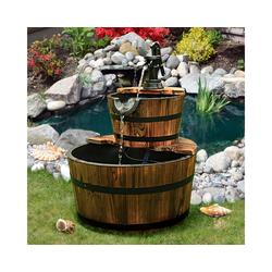 COSTWAY Gartenbrunnen Brunnen, Holz Gartenbrunnen Holzbrunnen Holzfass mit Wasserpumpe Ø 44,5cm