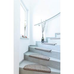 Stufenmatte Newport, Andiamo, halbrund, Höhe 8,5 mm, Teppich-Stufenmatten, Treppen-Stufenmatten, Treppenschutz, für innen, Set mit 2 Stück oder 15 Stück, meliert braun