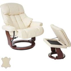 MCA Relaxsessel Windsor XXL, TV-Sessel Hocker, Echtleder 180kg belastbar ~ creme, Walnuss-Optik