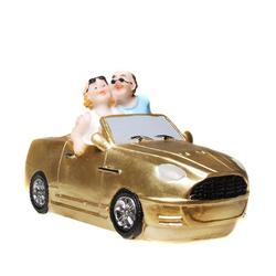 Udo Schmidt Bremen...das Original Spardose Spardose Pärchen im neuen Auto 16 cm gold Führerschein oder Reise