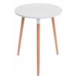 CLP Esstisch Amalie, Retro-Design Küchentisch mit 3 Holzbeinen weiß