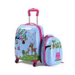 COSTWAY Kinderkoffer Kindergepäck, Kinder Kofferset, Reisegepäck, 2tlg Kinderkoffer + Rucksack blau