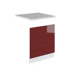 Vicco Frontblende Geschirrspülerblende 60 cm mit Arbeitsplatte Küchenschrank Küchenschränke Küchenunterschrank R-Line Küchenzeile rot