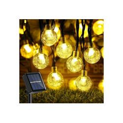 Favson Stirnlampen Solar Lichterkette Außen, 50er LED Kristallkugeln 7 Meter Solar Kupferdraht Lichterkette (Wei)