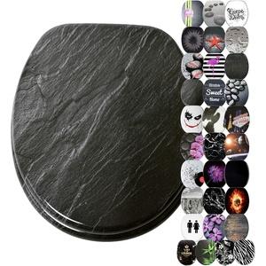 WC Sitz, viele schöne schwarze WC Sitze zur Auswahl, hochwertige und stabile Qualität aus Holz (Granit)