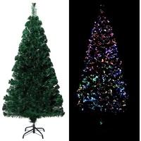 vidaXL Künstlicher Weihnachtsbaum mit Ständer Grün 150 cm Fiberoptik