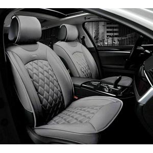 2x Autositzauflagen Vordere Schonauflagen Kunstleder Grau Komfort Elegant PKW Auto Neu